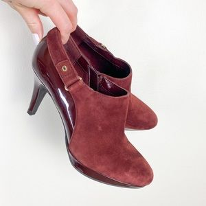 Women's 6.5 red booties heels suede patent leather
